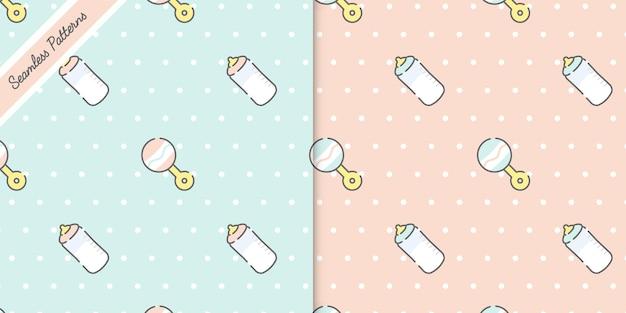 2つのかわいいパステルカラーの赤ちゃんのシームレスなパターンは、プレミアムベクトルを設定します