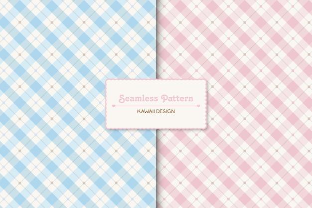 2つのかわいいパステルカラーの市松模様のシームレスパターン
