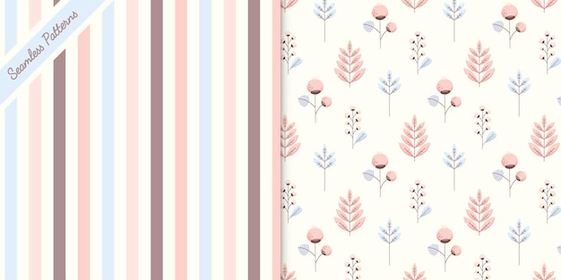 Two cute pastel colors seamless patterns premium vector