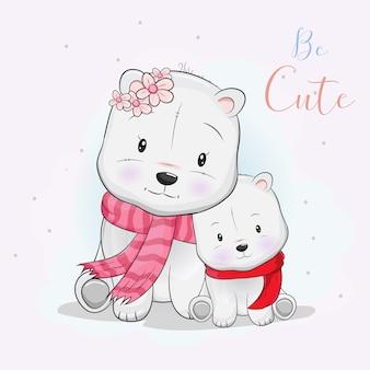 Two cute polar bear love each other