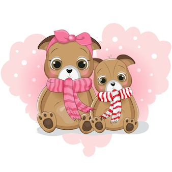 Two cute puppy cartoon on background heart