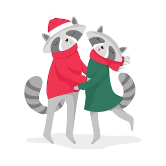 Two cute raccoons kissing in festive clothes