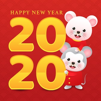 Two cute rats in new year chinese with golden 2020