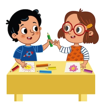 色鉛筆を共有する2人のかわいい小学生ベクトルイラスト