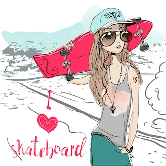 Two cute sketchy summer girl with skateboards