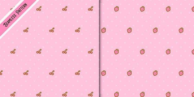 Two cute strawberries and cherries seamless patterns set.