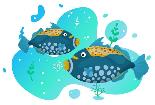 海で2つのかわいい熱帯魚。鮮やかな色の海の魚。水中の海洋野生生物。図。
