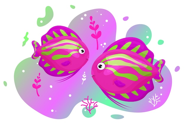 Two cute tropical fish in the sea. brightly-coloured ocean fish. underwater marine wild life.  illustration.