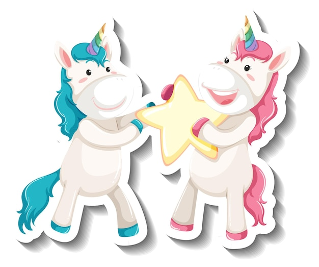 Two cute unicorns holding star together cartoon sticker