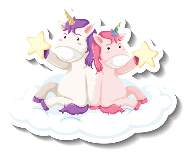 Two cute unicorns sitting on the cloud together cartoon sticker