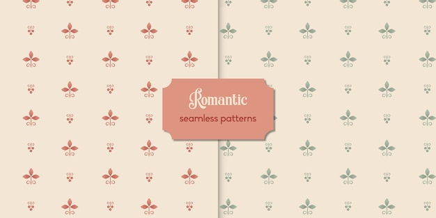 Two cute vintage floral seamless patterns premium vecor