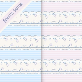 Two cute vintage floral seamless patterns set