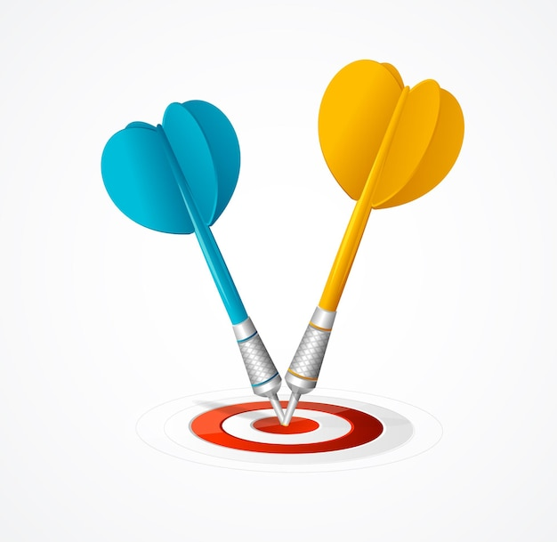 Two darts hit the target isolated.