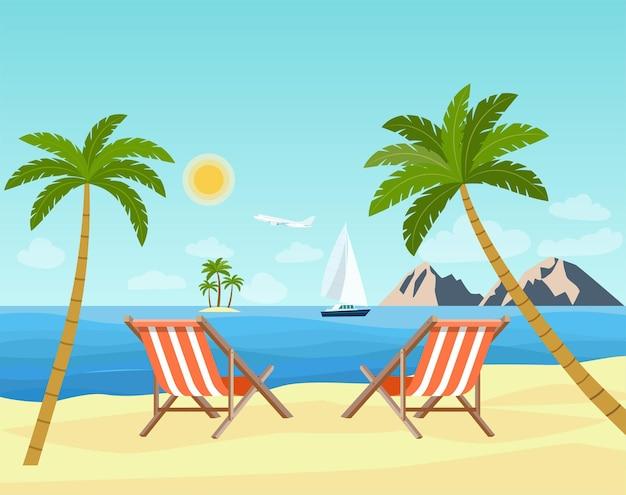 Два шезлонга на пляже. пейзаж пляжа и океана.