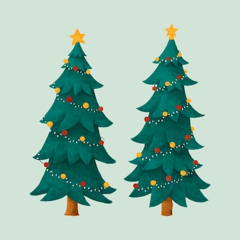 Two decorated christmas trees illustration