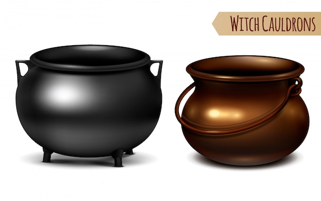 Two decorative witch cauldrons metal pots black and bronze with arc shaped hanger  realistic