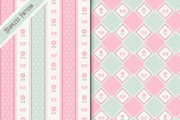 Two delicate flowers and lace seamless patterns set