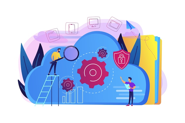 Two developers looking at the gears on the cloud illustration