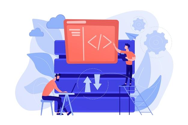 ビッグデータ技術を扱う2人の開発者。ビッグデータの管理とストレージ、データベースの分析と設計、データソフトウェアエンジニアリングの概念。ベクトル分離イラスト。