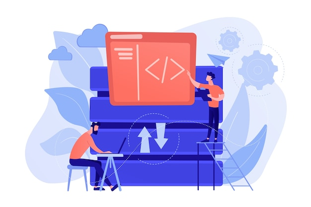 Two developers working with big data technology. big data management and storage, database analytics and design, data software engineering concept. vector isolated illustration.