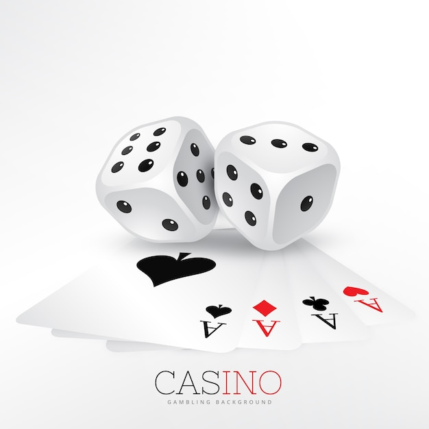 Two dice with casino cards