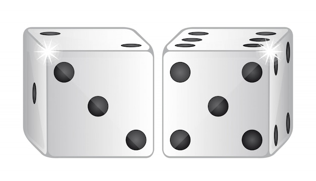 Two dices isolated over white background vector illustration