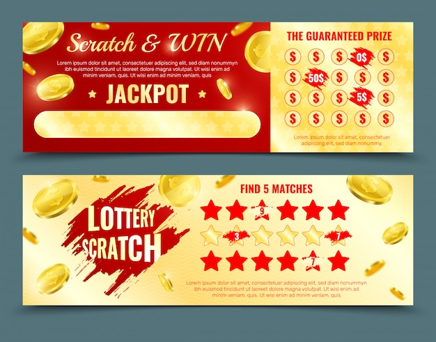 Two different design versions of scratch lottery card mockup with win jackpot and guaranteed prize promotion isolated