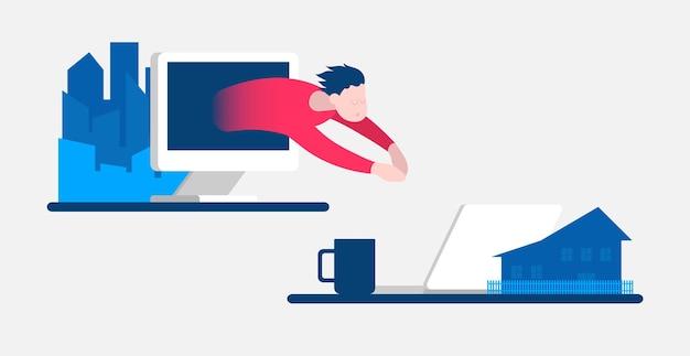 Два разных рабочих места разработчика фрилансера домашний офис онлайн-общение виртуальная рабочая встреча