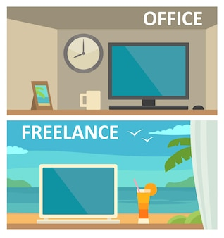 Two different workplace with a computer in office and on tropical resort. vector color flat illustration. for info graphic, web, banner