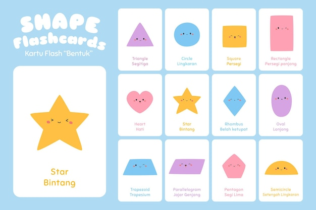 Two dimension shape flashcards  set
