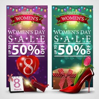 Два дисконтных баннера на женский день с гирляндой