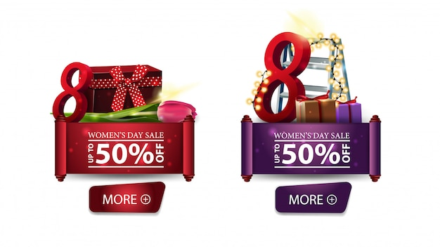 Two discount banners for women's day with buttons, gifts and tulip