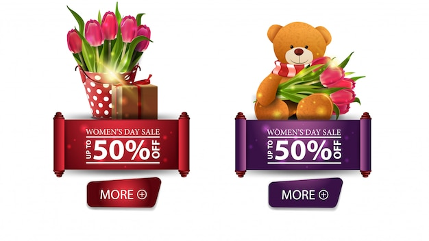 Two discount banners for women's day with buttons, tulips and teddy bear