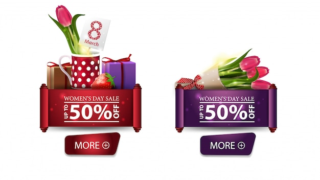 Two discount banners for women's day with buttons and tulips