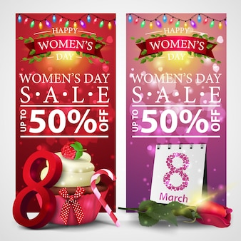Two discount banners for women's day with garland