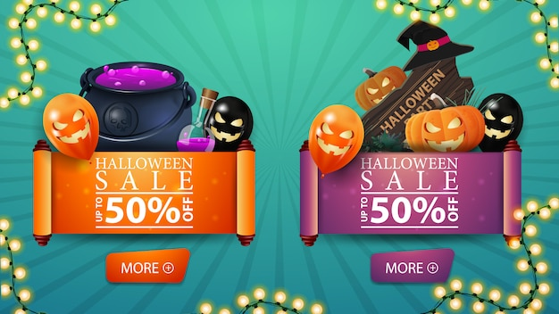 Two discount halloween banner set in the form of a roll of parchment