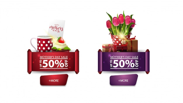 Two discount modern banners for mother's day with buttons