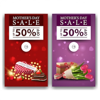 Two discount modern vertical banners for mother's day