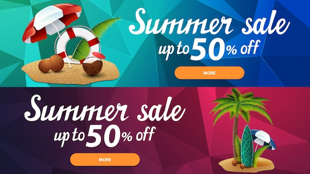 Два скидочных веб-баннера для летних распродаж с полигональной текстурой