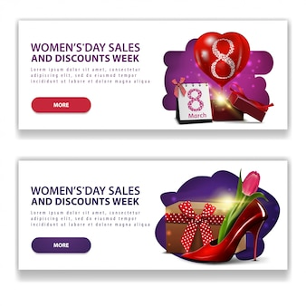 Two discount white banners for women's day with buttons