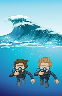 Two divers under the ocean