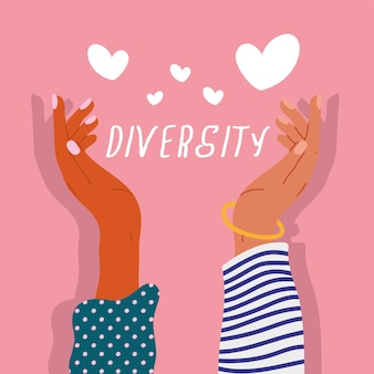 Two diversity hands humans up with hearts and lettering  illustration