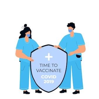 2人の医者が盾を持っています。コロナウイルスcovid-19からの保護。予防接種キャンペーン。予防接種の時間です。