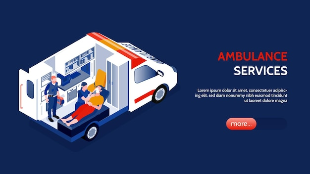 Two doctors rendering first aid to person in ambulance car isometric horizontal banner