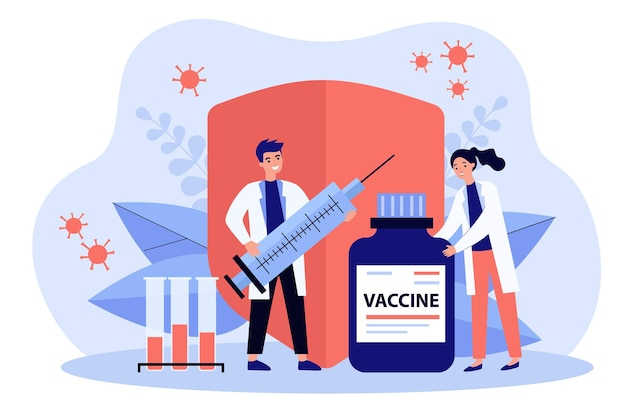 Two doctors with vaccine, test tubes and syringe flat illustration
