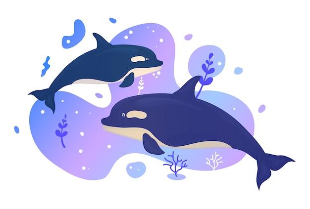海で2頭のイルカ。海の魚。水中の海洋野生生物。図。