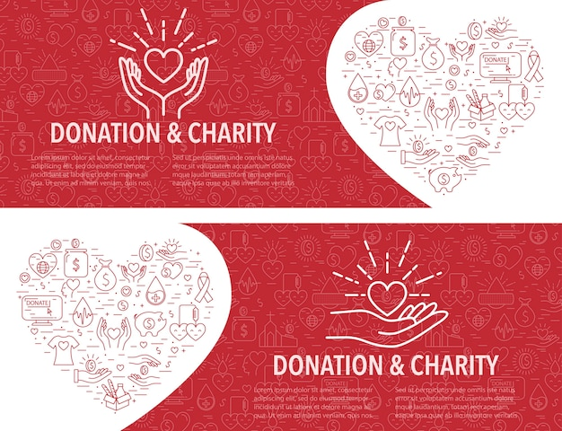 Two donation banner template. horizontal banner
