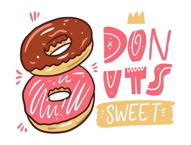2つのドーナツ。ブラウンとピンク。漫画のスタイル。