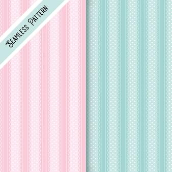 두 개의 점 및 끈 원활한 패턴 세트