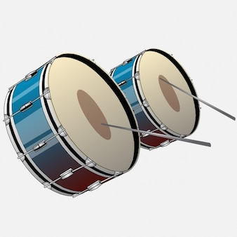 Two drums with drumsticks
